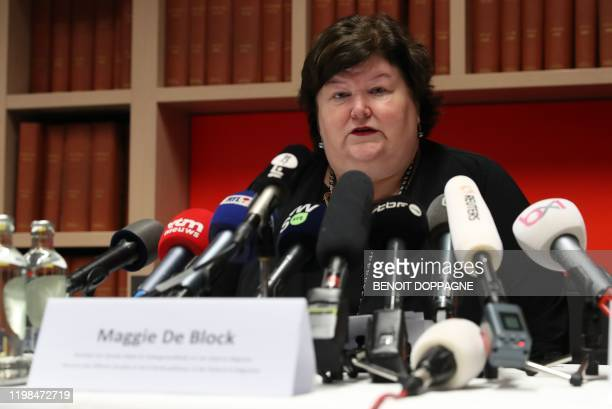 Belgium minister of Health Social Affairs Asylum Policy and Migration Maggie De Block addresses a press conference on February 4 2020 in Brussels on...
