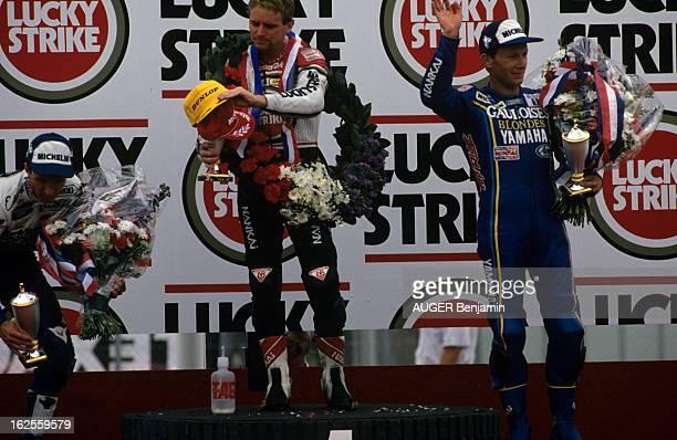 Belgium Motorcycle 500 Cc Grand Prix 1989 En Belgique sur le circuit de SpaFrancorchamps le 26 juin 1989 à l'occasion du Grand Prix de moto 500 cc le...