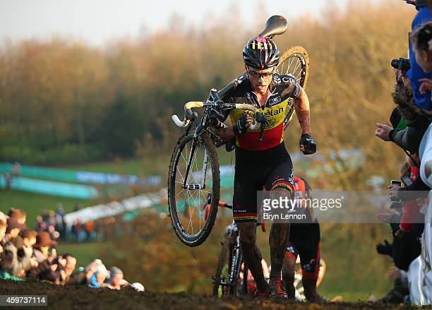 Belgium National Champion Sven Nys in action during the Eliute Men's race at the UCI Cyclocross World Cup in Campbell Park on November 29, 2014 in...