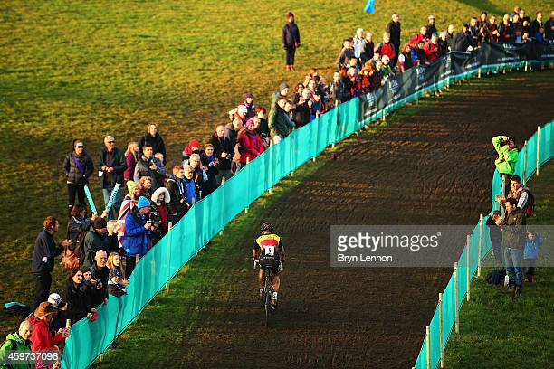 Belgium National Champion Sven Nys in action during the Eliute Mens's race at the UCI Cyclocross World Cup in Campbell Park on November 29, 2014 in...