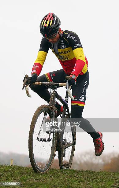 Belgium National Champion Sven Nys in action during training for the UCI Cyclocross World Cup in Campbell Park on November 28, 2014 in Milton Keynes,...