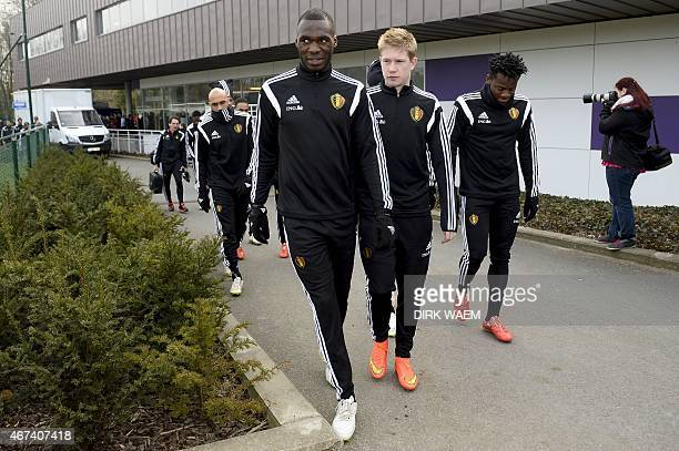 Belgium national football team players Christian Benteke Kevin De Bruyne and Michy Batshuayi arrive at a training session as part of the team's...
