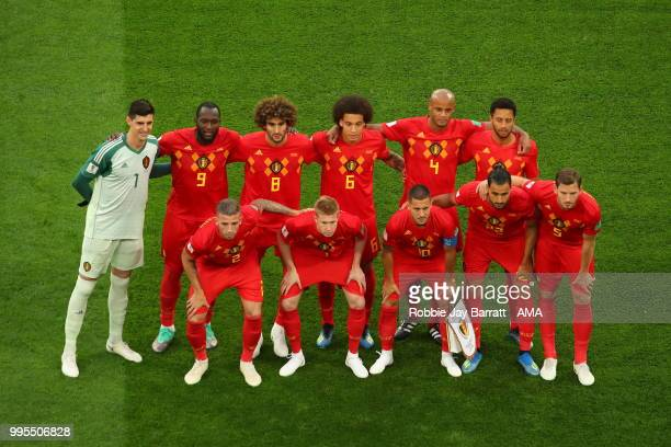 Belgium National side line up for a team photo before the 2018 FIFA World Cup Russia Semi Final match between Belgium and France at Saint Petersburg...