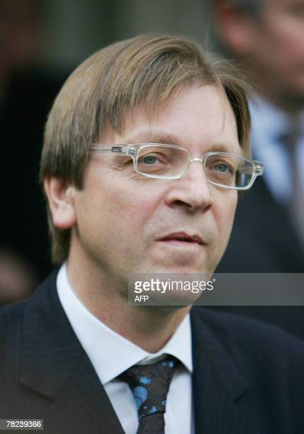 Belgium outgoing Prime Minister Guy Verhofstadt talks to journalitsts after a meeting with his Polish counterpart Donald Tusk 04 December 2007 in...