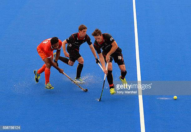 Belgium play India in a warm up match during the FIH 2016 Champions Trophy Previews at Queen Elizabeth Olympic Park on June 8 2016 in London England