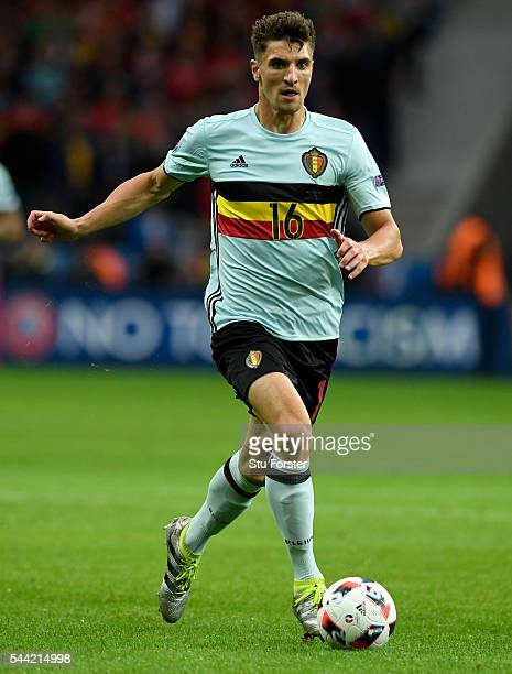 Belgium player Thomas Meunier in action during the UEFA Euro 2016 Quarter Final match between Wales and Belgium at Stade PierreMauroy on July 1 2016...