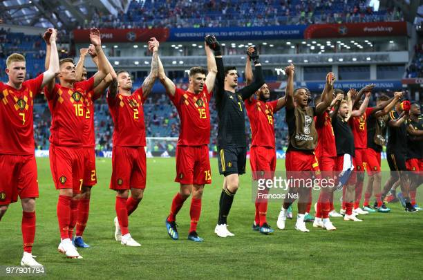 Belgium players acknowledges the fans following the 2018 FIFA World Cup Russia group G match between Belgium and Panama at Fisht Stadium on June 18,...
