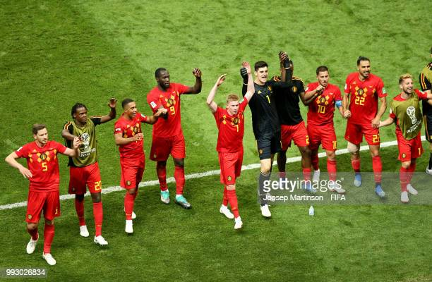 Belgium players acknowledges the fans followingthe 2018 FIFA World Cup Russia Quarter Final match between Brazil and Belgium at Kazan Arena on July 6...