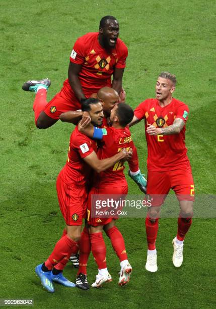 Belgium players celebrate after Fernandinho of Brazil scores an own goal for their sides first goal during the 2018 FIFA World Cup Russia Quarter...