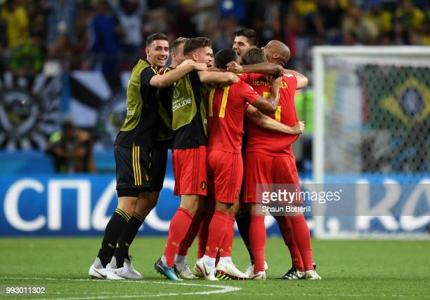 Belgium players celebrate following the 2018 FIFA World Cup Russia Quarter Final match between Brazil and Belgium at Kazan Arena on July 6 2018 in...
