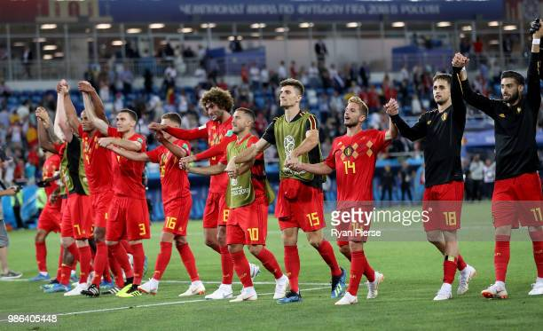 Belgium players celebrate following their sides victory in the 2018 FIFA World Cup Russia group G match between England and Belgium at Kaliningrad...