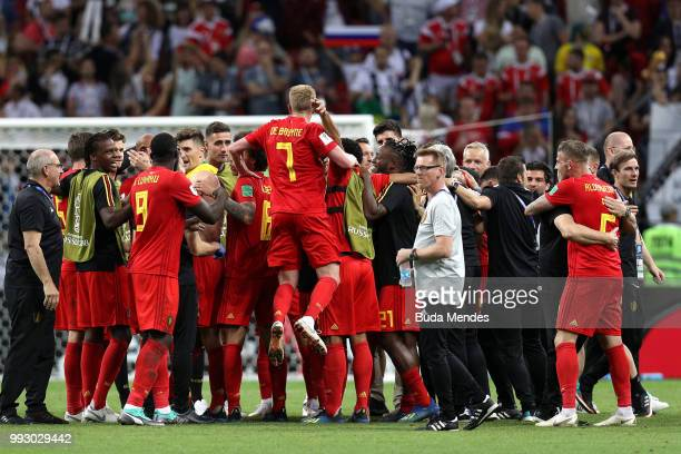 Belgium players celebrate following their sides victory in the 2018 FIFA World Cup Russia Quarter Final match between Brazil and Belgium at Kazan...