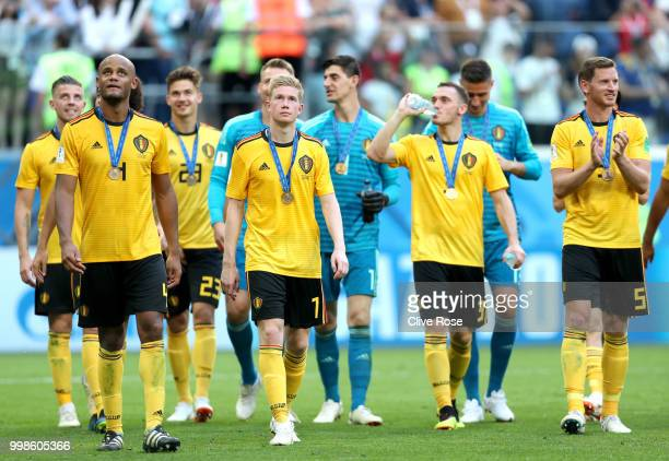 Belgium players celebrate following their sides victory in the 2018 FIFA World Cup Russia 3rd Place Playoff match between Belgium and England at...