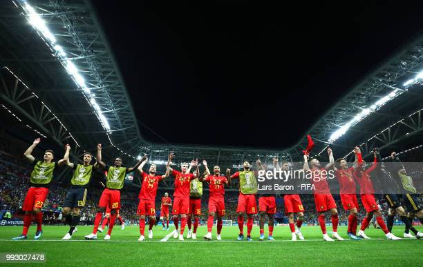Belgium players celebrate their victory following the 2018 FIFA World Cup Russia Quarter Final match between Brazil and Belgium at Kazan Arena on...