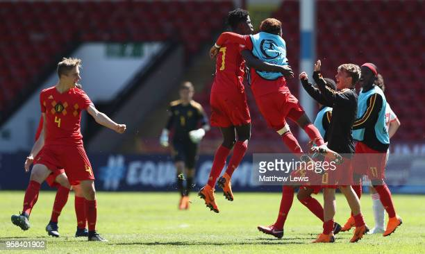 Belgium players celebrate their win against Spain during the UEFA European Under-17 Championship Quarter Final match between Belgium and Spain at on...