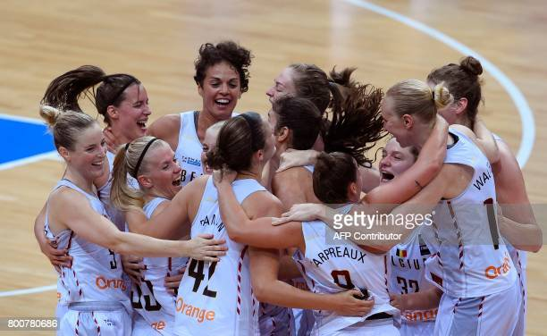Belgium' players celebrate winning the FIBA EuroBasket 2017 women's bronze medal match between Belgium and Greece on June 25 2017 in Prague Czech...