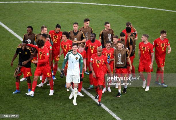 Belgium players celebrates victory following the 2018 FIFA World Cup Russia Round of 16 match between Belgium and Japan at Rostov Arena on July 2...