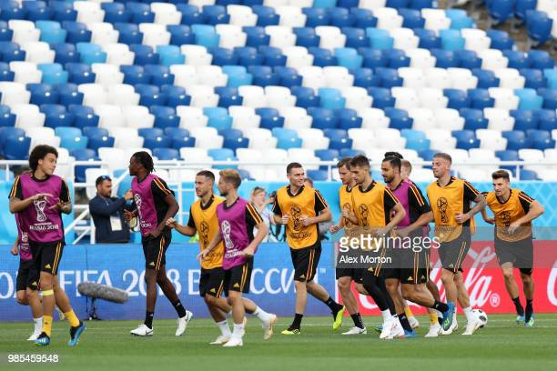 Belgium players during a training session at Kaliningrad Stadium on June 27 2018 in Kaliningrad Russia