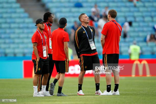 Belgium players inspect the pitch prior to the 2018 FIFA World Cup Russia group G match between Belgium and Panama at Fisht Stadium on June 18 2018...
