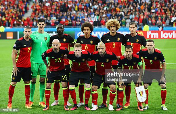 Belgium players line up for the team photos prior to the UEFA EURO 2016 Group E match between Belgium and Italy at Stade des Lumieres on June 13 2016...