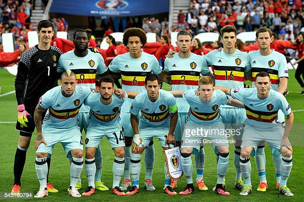 Belgium players line up for the team photos prior to the UEFA EURO 2016 round of 16 match bewtween Hungary and Belgium at Stadium Municipal on June...