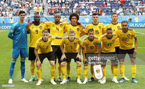 Belgium players pose ahead of a World Cup playoff for third place against England at Saint Petersburg Stadium in St Petersburg Russia on July 14 2018...