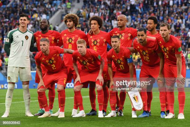 Belgium players pose for a team photo during the 2018 FIFA World Cup Russia Semi Final match between Belgium and France at Saint Petersburg Stadium...