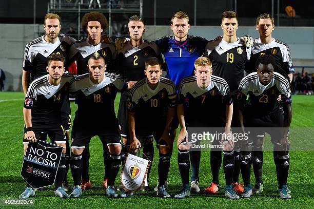 Belgium players pose for a team picture during the UEFA EURO 2016 Qualifier match between Andorra and Belgium at Estadi Nacional d'Andorra la Vella...