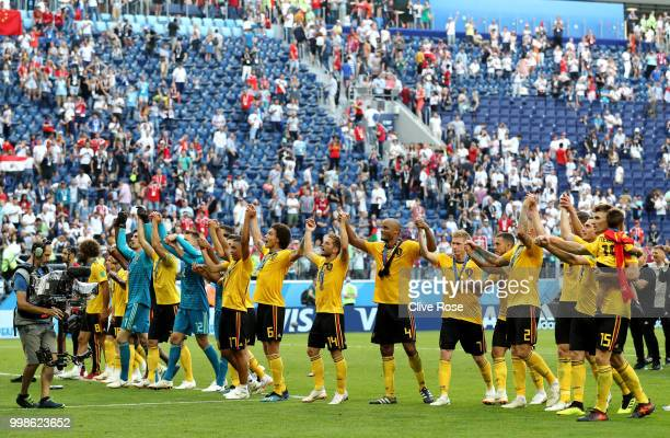 Belgium players show appreciation to the fans after the 2018 FIFA World Cup Russia 3rd Place Playoff match between Belgium and England at Saint...