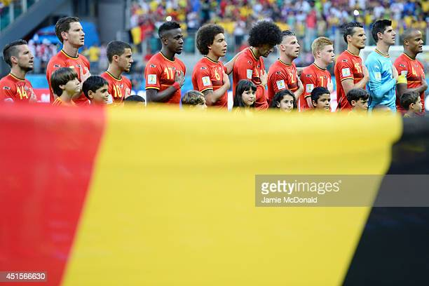 Belgium players sing the National Anthem prior to the 2014 FIFA World Cup Brazil Round of 16 match between Belgium and the United States at Arena...