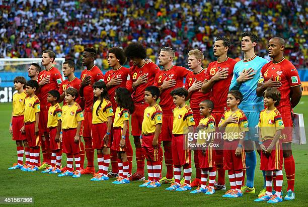 a139568e9 Belgium players sing the National Anthem prior to the 2014 FIFA World Cup  Brazil Round of