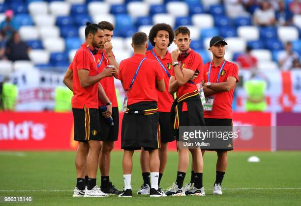 Belgium players speak during a pitch inspection prior to the 2018 FIFA World Cup Russia group G match between England and Belgium at Kaliningrad...