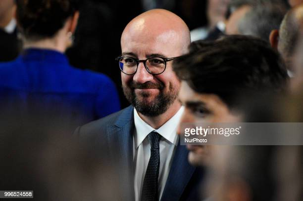 Belgium PM Charles MIchel is seen during the 2018 NATO Summit in Brussels Belgium on July 11 2018