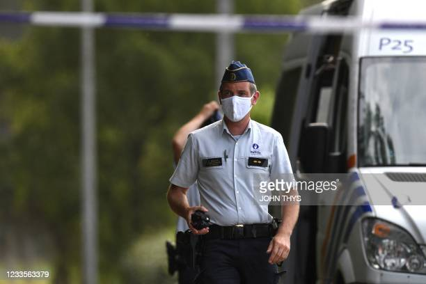 Belgium police cordon off the area after a body found in the Dilserbos, a forest area of Hoge Kempen National Park near Dilsen-Stokkem, was confirmed...