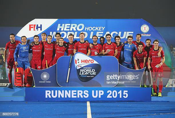 Belgium pose after becoming runners up during the final match between Australia and Belgium on day ten of The Hero Hockey League World Final at the...