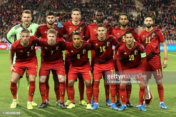 Belgium pose for a team group photo during the UEFA Euro 2020 Qualifier between Belgium and Cyprus on November 19 2019 in Brussels Belgium