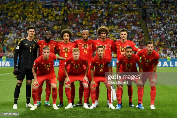 Belgium pose for a team photo prior to prior to the 2018 FIFA World Cup Russia Quarter Final match between Brazil and Belgium at Kazan Arena on July...