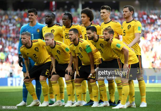 Belgium pose prior to the 2018 FIFA World Cup Russia group G match between Belgium and Tunisia at Spartak Stadium on June 23 2018 in Moscow Russia