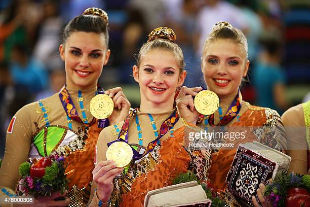 Belgium pose with their Gold medals after the Women's Acrobatic Gymnastics Group Dynamic Final on day nine of the Baku 2015 European Games at the...