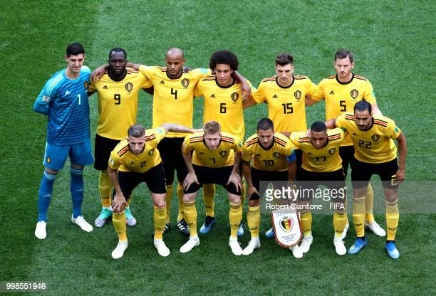Belgium poses for a team photo during the 2018 FIFA World Cup Russia 3rd Place Playoff match between Belgium and England at Saint Petersburg Stadium...