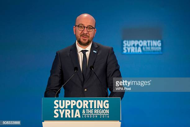 Belgium Prime Minister Charles Michel makes a pledge during the second cohost chaired thematic pledging session for jobs and economic development at...