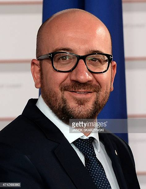 Belgium Prime Minister Charles Michel smiles upon arrival at the House of the Blackhead for an informal dinner at the start of the fourth European...