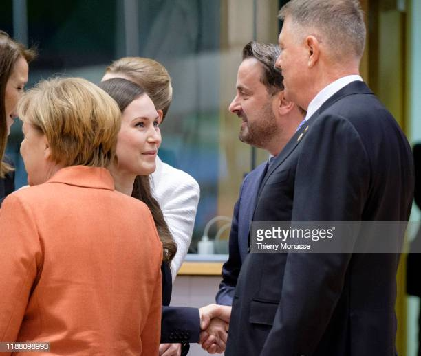 Belgium Prime Minister Sophie Wilmes is talking with the German Chancellor Angela Merkel the Finnish Prime Minister Sanna Mirella Marin the...