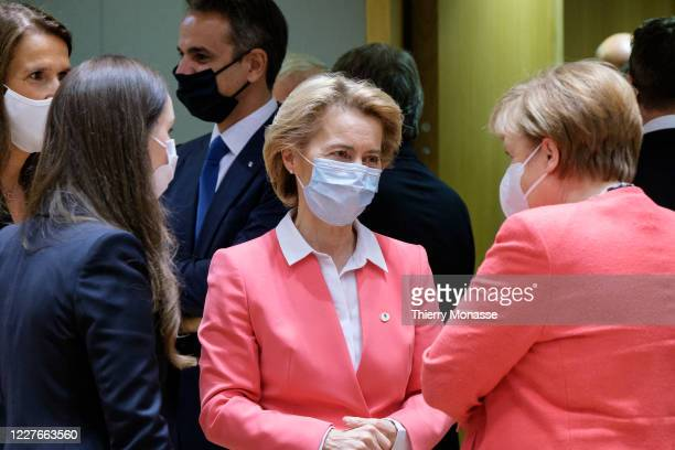 Belgium Prime Minister Sophie Wilmes talks with the Finish Prime Minister Sanna Mirella Marin, the Greece Prime Minister Kyriakos Mitsotakis, the...