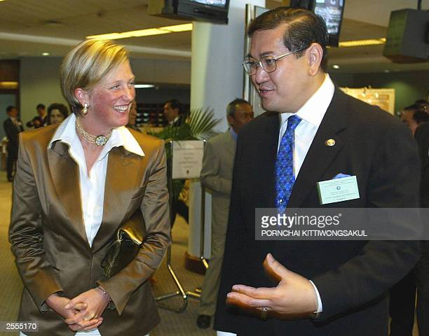 Belgium Princess Astrid talks with Thai Foreign Minister Surakiart Satirathai during the opening ceremony of the Fifth Meeting of State Parties to...
