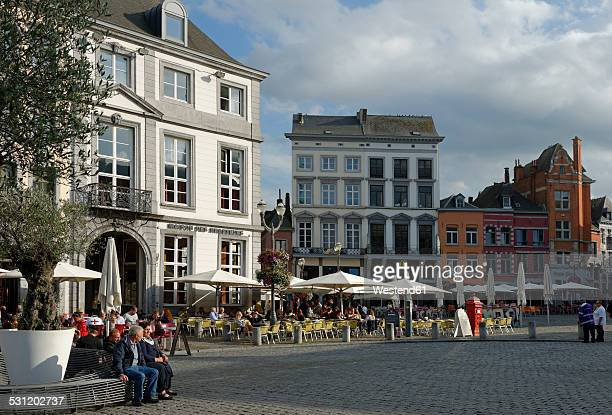 Belgium, Province of Hainaut, Mons, cafes and restaurants at the central square