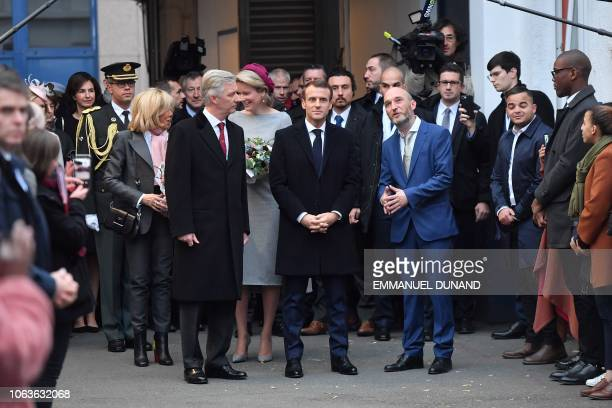 Belgium royal couple Philippe of Belgium and Mathilde of Belgium French President Emmanuel Macron his wife Brigitte Macron arrive to visit the...