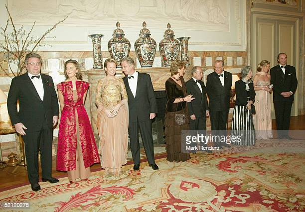 Belgium royalty Prince Laurent Princess Claire Princess Mathilde Prince Philippe Queen Paola President Stephanopoulos of the Hellenic Republic King...