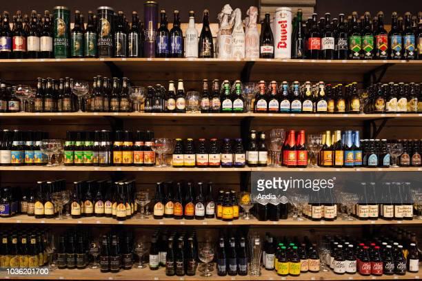 Shelves with Belgian beers in a beer shop in Bruges