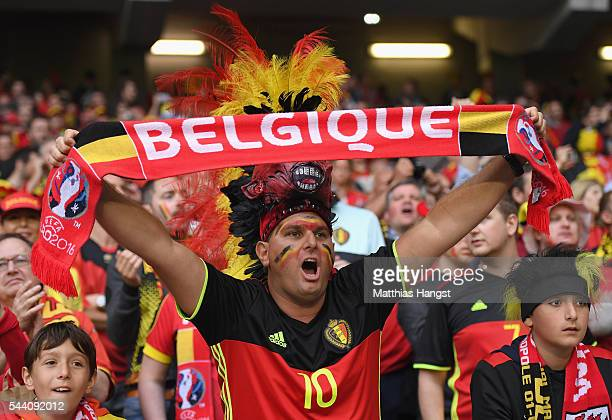 Belgium supporter enjoys the atmosphere prior to the UEFA EURO 2016 quarter final match between Wales and Belgium at Stade PierreMauroy on July 1...